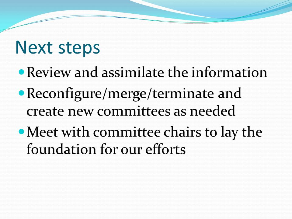 Next steps Review and assimilate the information Reconfigure/merge/terminate and create new committees as needed Meet with committee chairs to lay the foundation for our efforts