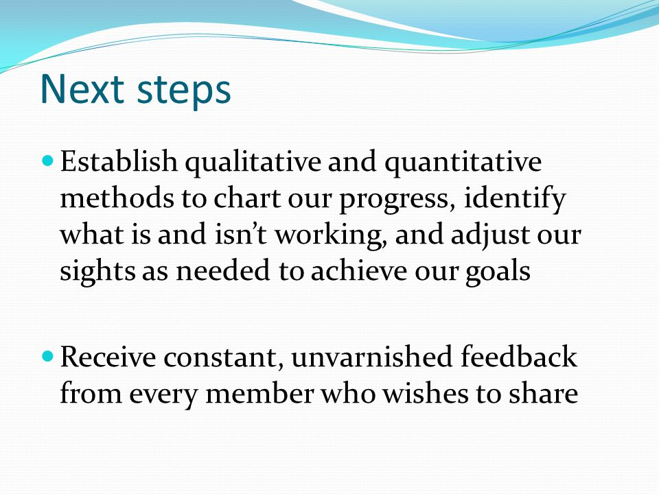 Next steps Establish qualitative and quantitative methods to chart our progress, identify what is and isn't working, and adjust our sights as needed to achieve our goals Receive constant, unvarnished feedback from every member who wishes to share