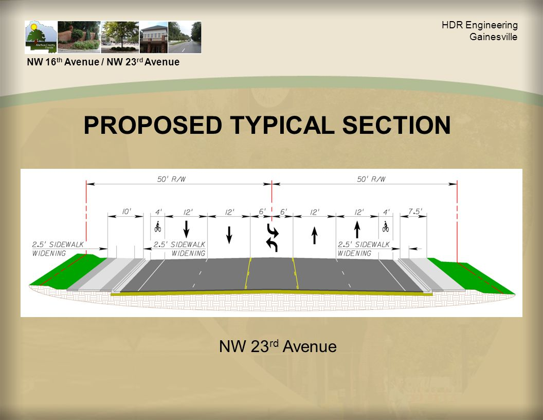 HDR Engineering Gainesville NW 16 th Avenue / NW 23 rd Avenue PROPOSED TYPICAL SECTION NW 23 rd Avenue