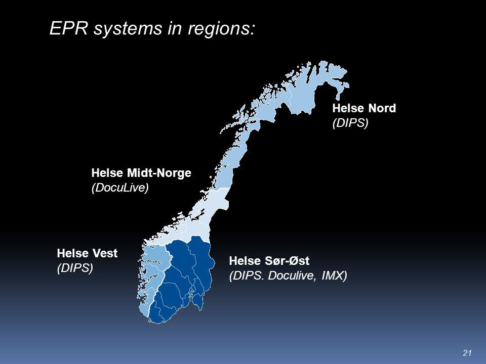21 Helse Nord (DIPS) Helse Midt-Norge (DocuLive) Helse Vest (DIPS) Helse Sør-Øst (DIPS.