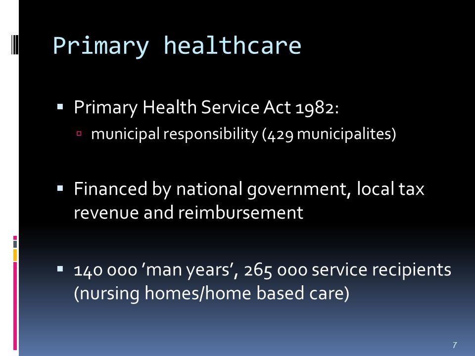 Primary healthcare  General Practitioners:  Independent (contract w/municipality) or employees of municipality  Reimbursement for services  Out-of-hours response teams (1,8 mill.