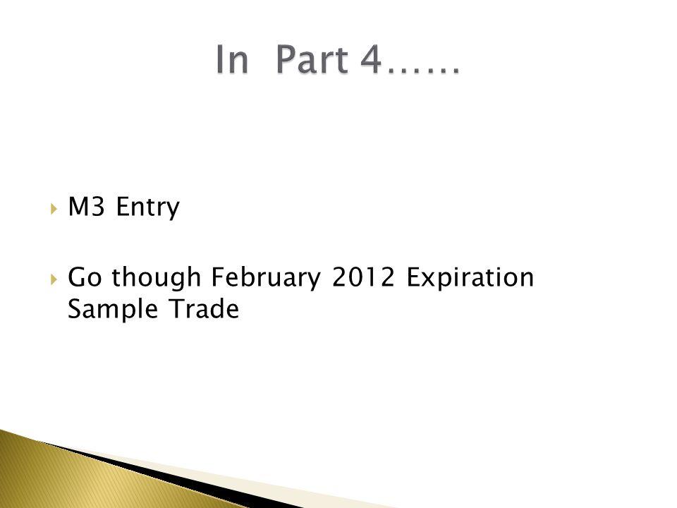  M3 Entry  Go though February 2012 Expiration Sample Trade