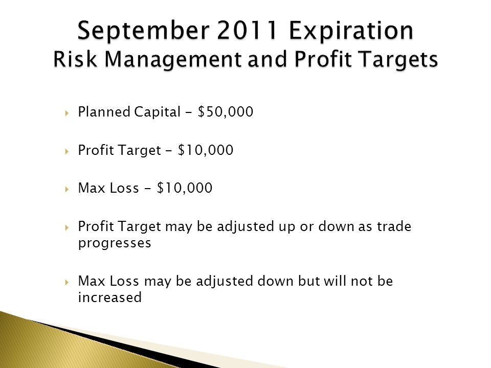  Planned Capital - $50,000  Profit Target - $10,000  Max Loss - $10,000  Profit Target may be adjusted up or down as trade progresses  Max Loss may be adjusted down but will not be increased