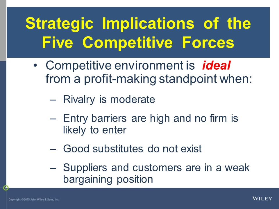 Competitive environment is ideal from a profit-making standpoint when: –Rivalry is moderate –Entry barriers are high and no firm is likely to enter –G