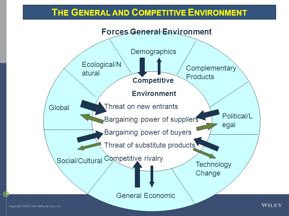 T HE G ENERAL AND C OMPETITIVE E NVIRONMENT Forces General Environment Competitive Environment Threat on new entrants Bargaining power of suppliers Ba