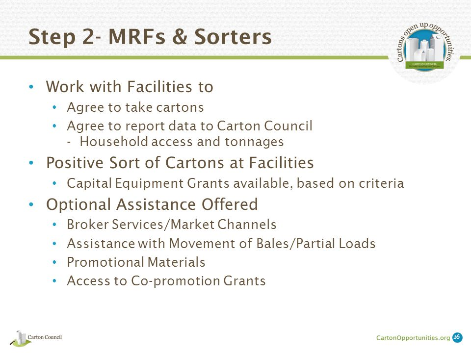 Step 2- MRFs & Sorters Work with Facilities to Agree to take cartons Agree to report data to Carton Council - Household access and tonnages Positive Sort of Cartons at Facilities Capital Equipment Grants available, based on criteria Optional Assistance Offered Broker Services/Market Channels Assistance with Movement of Bales/Partial Loads Promotional Materials Access to Co-promotion Grants 16