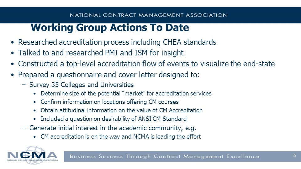 Working Group Actions To Date Researched accreditation process including CHEA standards Talked to and researched PMI and ISM for insight Constructed a top-level accreditation flow of events to visualize the end-state Prepared a questionnaire and cover letter designed to: –Survey 35 Colleges and Universities Determine size of the potential market for accreditation services Confirm information on locations offering CM courses Obtain attitudinal information on the value of CM Accreditation Included a question on desirability of ANSI CM Standard –Generate initial interest in the academic community, e.g.