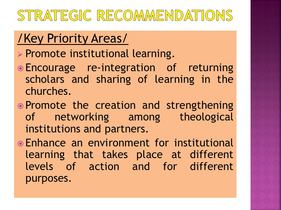 /Key Priority Areas/  Promote institutional learning.