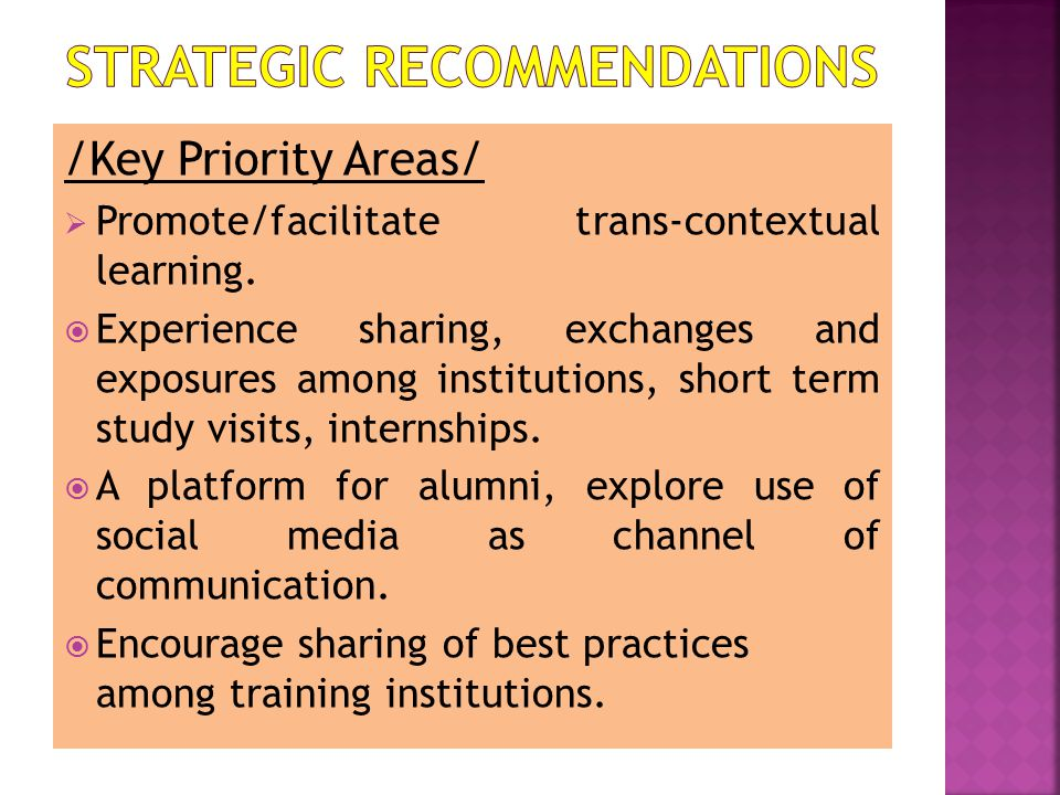 /Key Priority Areas/  Promote/facilitate trans-contextual learning.