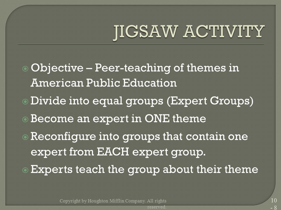  Objective – Peer-teaching of themes in American Public Education  Divide into equal groups (Expert Groups)  Become an expert in ONE theme  Reconf