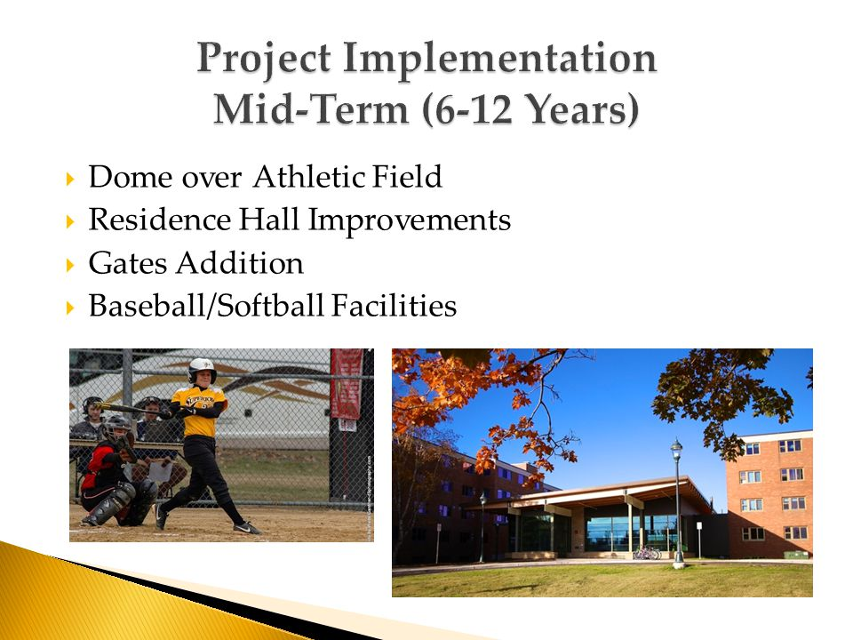  Dome over Athletic Field  Residence Hall Improvements  Gates Addition  Baseball/Softball Facilities