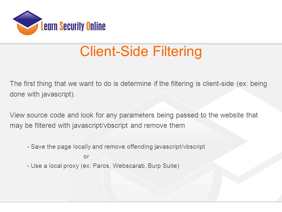 The first thing that we want to do is determine if the filtering is client-side (ex: being done with javascript). View source code and look for any pa