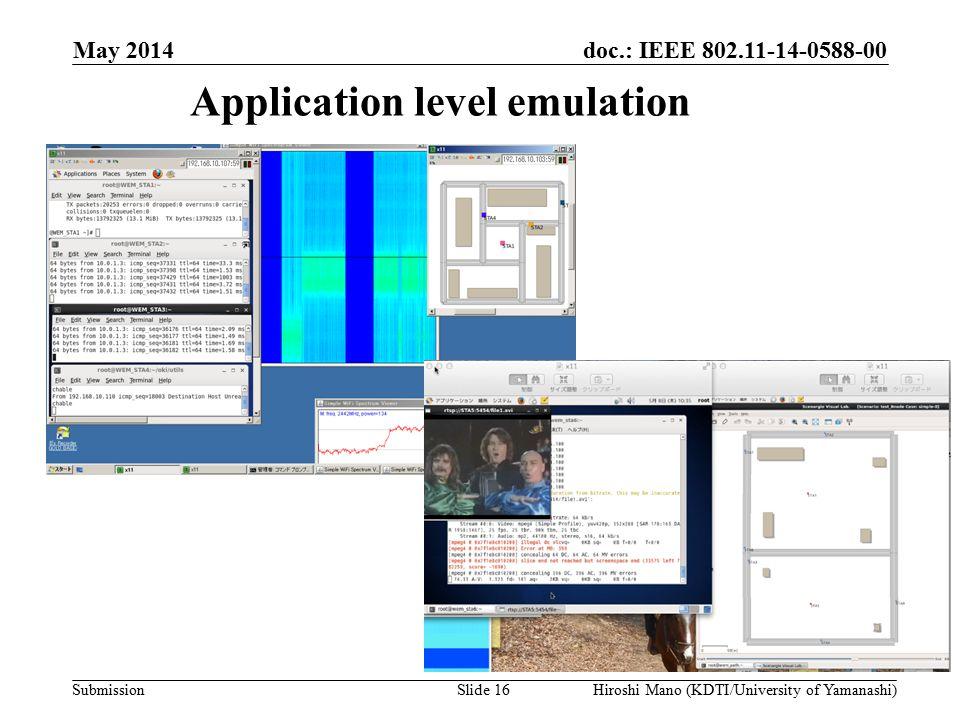 doc.: IEEE 802.11-14-0588-00 Submission Application level emulation May 2014 Hiroshi Mano (KDTI/University of Yamanashi)Slide 16