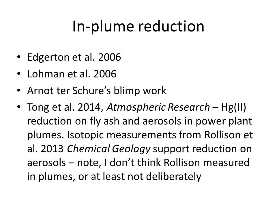In-plume reduction Edgerton et al. 2006 Lohman et al.