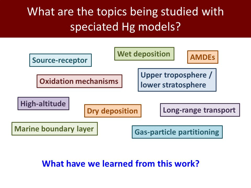 What are the topics being studied with speciated Hg models.