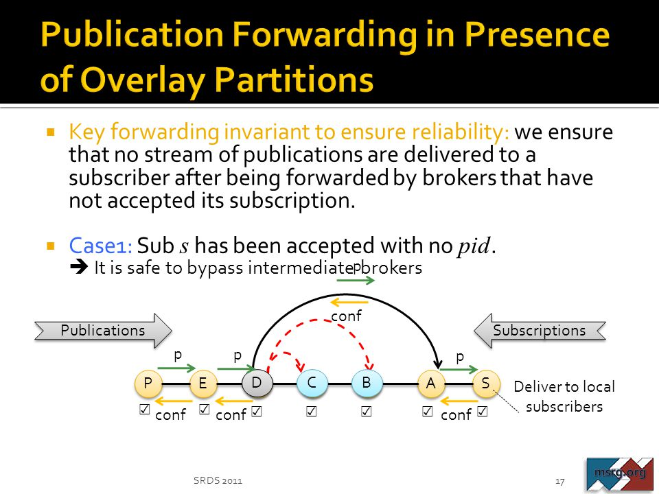  Key forwarding invariant to ensure reliability: we ensure that no stream of publications are delivered to a subscriber after being forwarded by brok
