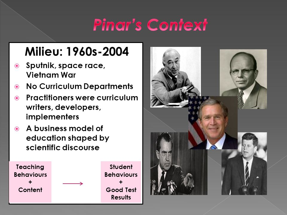 Milieu: 1960s-2004  Sputnik, space race, Vietnam War  No Curriculum Departments  Practitioners were curriculum writers, developers, implementers  A business model of education shaped by scientific discourse Teaching Behaviours + Content Student Behaviours + Good Test Results