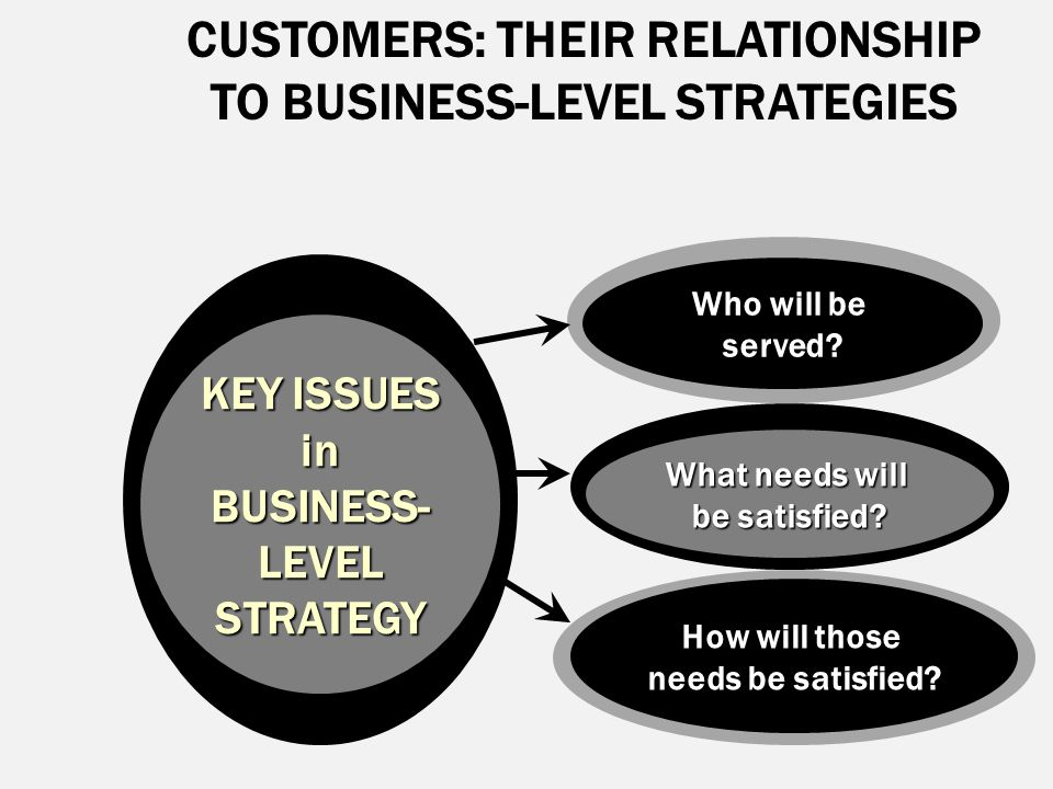 CUSTOMERS: THEIR RELATIONSHIP TO BUSINESS-LEVEL STRATEGIES KEY ISSUES in BUSINESS- LEVELSTRATEGY Who will be served? What needs will be satisfied? How