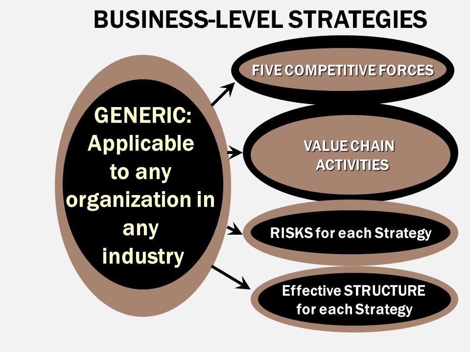 BUSINESS-LEVEL STRATEGIESGENERIC:Applicable to any organization in anyindustry FIVE COMPETITIVE FORCES VALUE CHAIN ACTIVITIES ACTIVITIES RISKS for eac