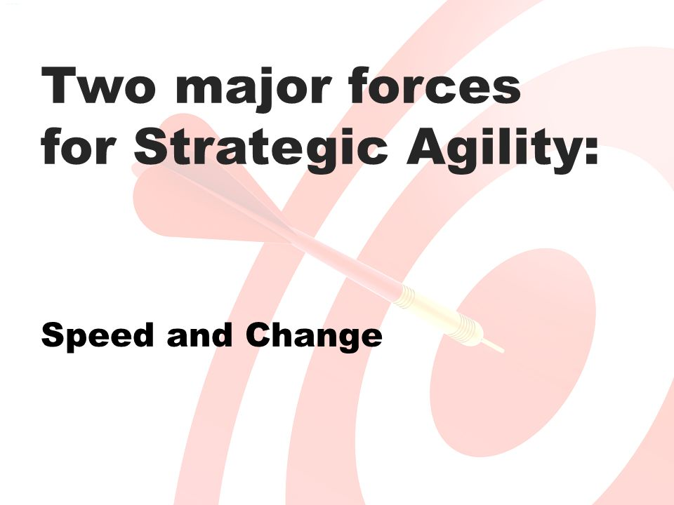Two major forces for Strategic Agility: Speed and Change