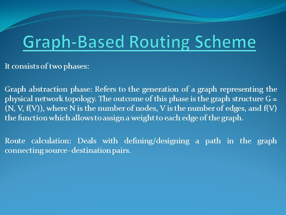 It consists of two phases: Graph abstraction phase: Refers to the generation of a graph representing the physical network topology.