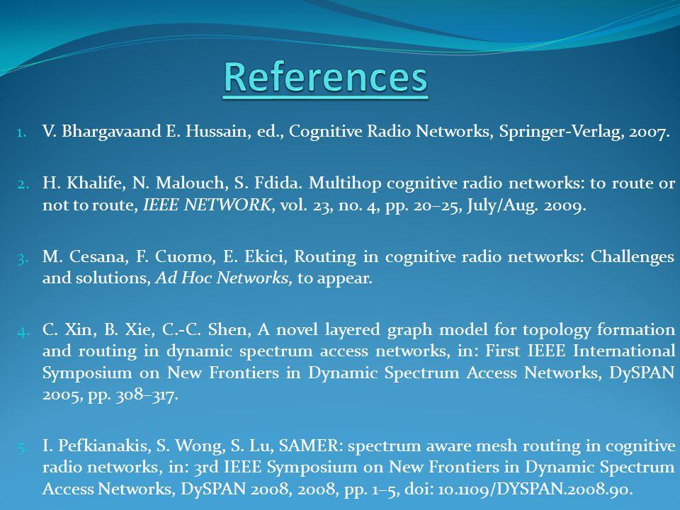 1. V. Bhargavaand E. Hussain, ed., Cognitive Radio Networks, Springer-Verlag, 2007.