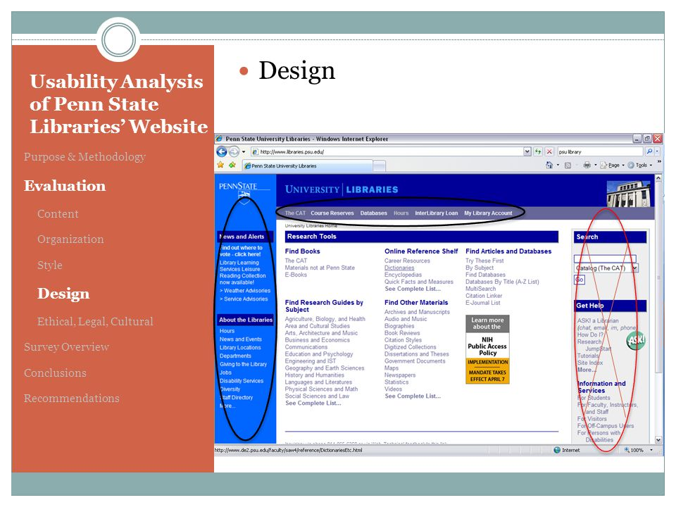 Usability Analysis of Penn State Libraries' Website Purpose & Methodology Evaluation Content Organization Style Design Ethical, Legal, Cultural Survey Overview Conclusions Recommendations Design