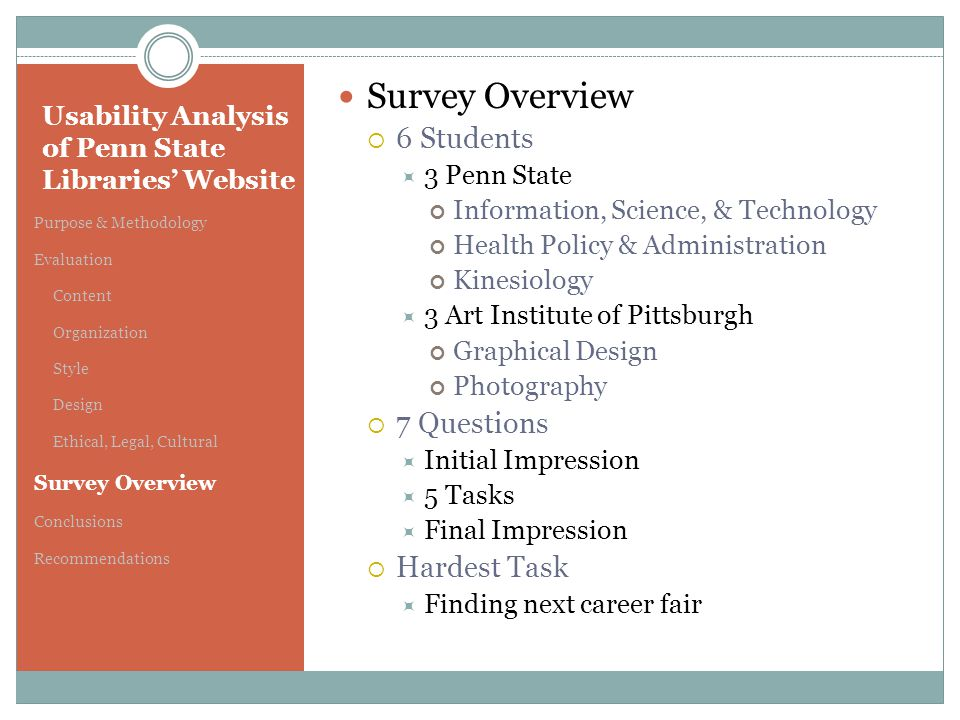 Usability Analysis of Penn State Libraries' Website Purpose & Methodology Evaluation Content Organization Style Design Ethical, Legal, Cultural Survey Overview Conclusions Recommendations Survey Overview  6 Students  3 Penn State Information, Science, & Technology Health Policy & Administration Kinesiology  3 Art Institute of Pittsburgh Graphical Design Photography  7 Questions  Initial Impression  5 Tasks  Final Impression  Hardest Task  Finding next career fair
