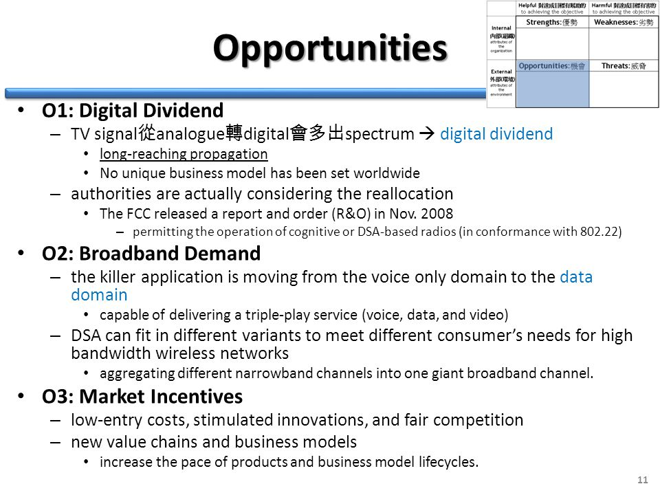 Opportunities O1: Digital Dividend – TV signal 從 analogue 轉 digital 會多出 spectrum  digital dividend long-reaching propagation No unique business model has been set worldwide – authorities are actually considering the reallocation The FCC released a report and order (R&O) in Nov.