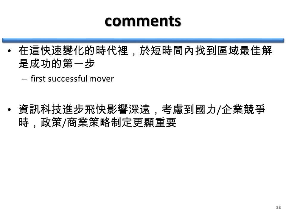 comments 在這快速變化的時代裡,於短時間內找到區域最佳解 是成功的第一步 – first successful mover 資訊科技進步飛快影響深遠,考慮到國力 / 企業競爭 時,政策 / 商業策略制定更顯重要 33