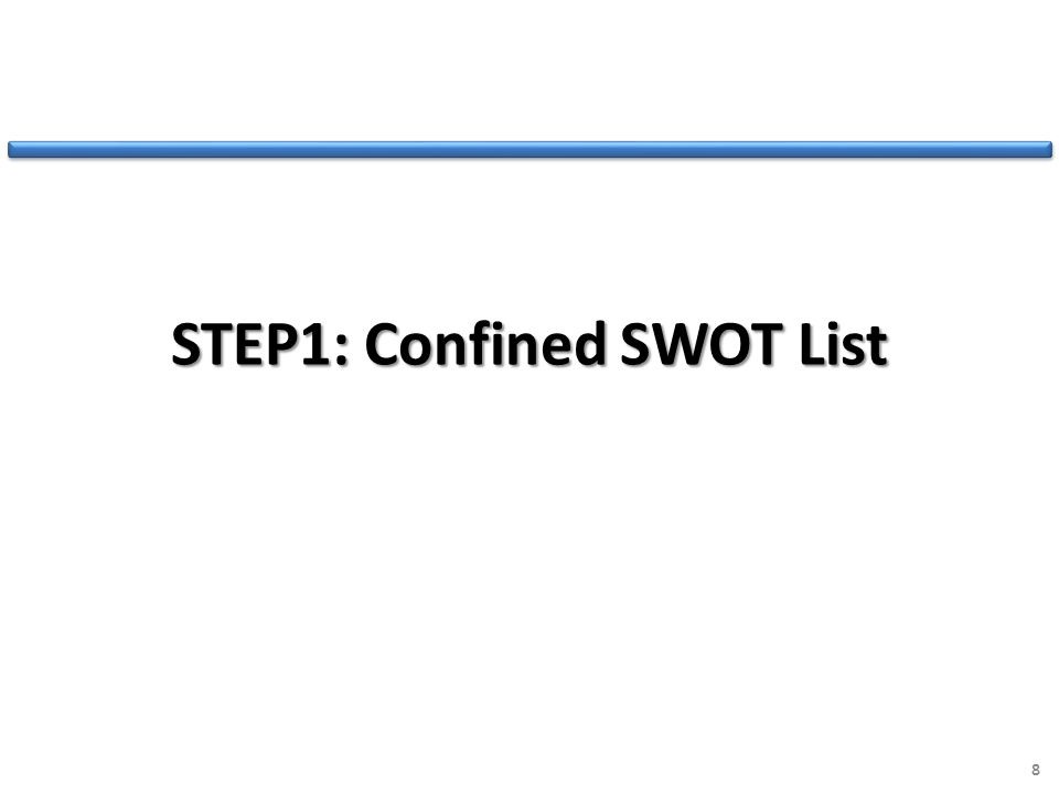 STEP1: Confined SWOT List 8