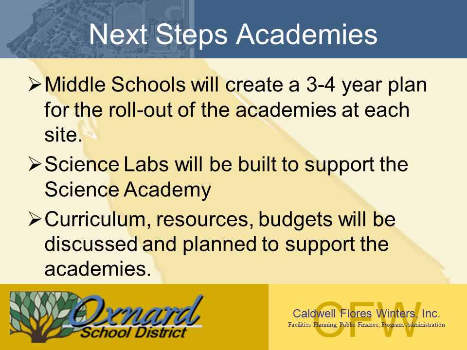 CFW Caldwell Flores Winters, Inc. Facilities Planning, Public Finance, Program Administration Next Steps Academies  Middle Schools will create a 3-4