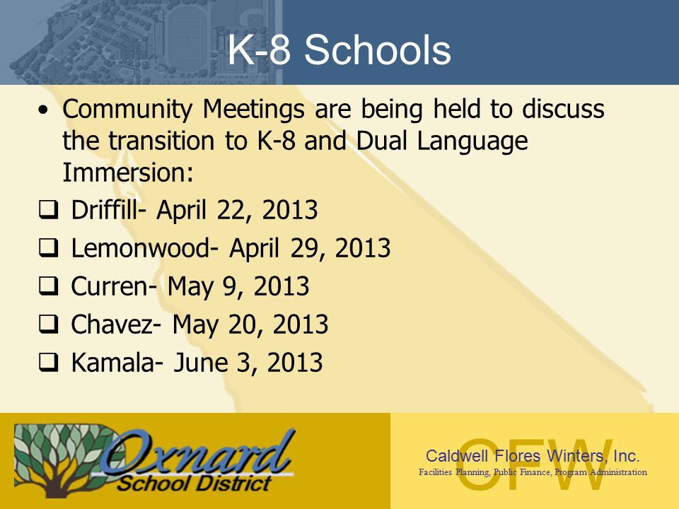 CFW Caldwell Flores Winters, Inc. Facilities Planning, Public Finance, Program Administration K-8 Schools Community Meetings are being held to discuss
