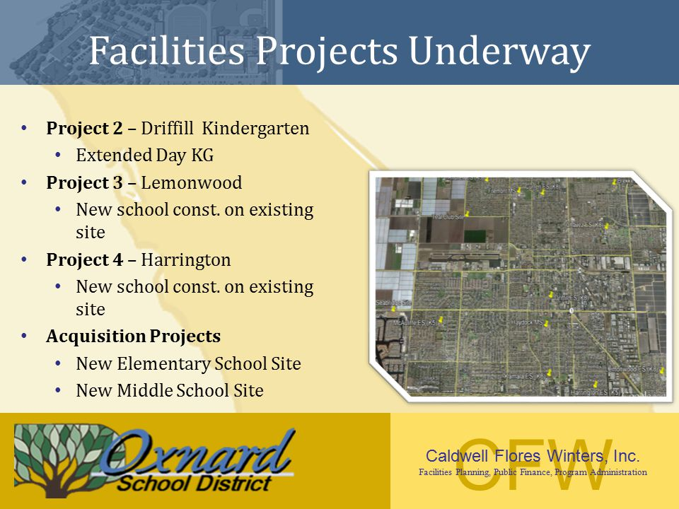 CFW Caldwell Flores Winters, Inc. Facilities Planning, Public Finance, Program Administration Facilities Projects Underway Project 2 – Driffill Kinder