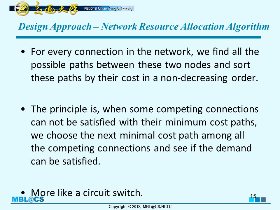 Copyright © 2012, MBL@CS.NCTU Design Approach – Network Resource Allocation Algorithm For every connection in the network, we find all the possible paths between these two nodes and sort these paths by their cost in a non-decreasing order.