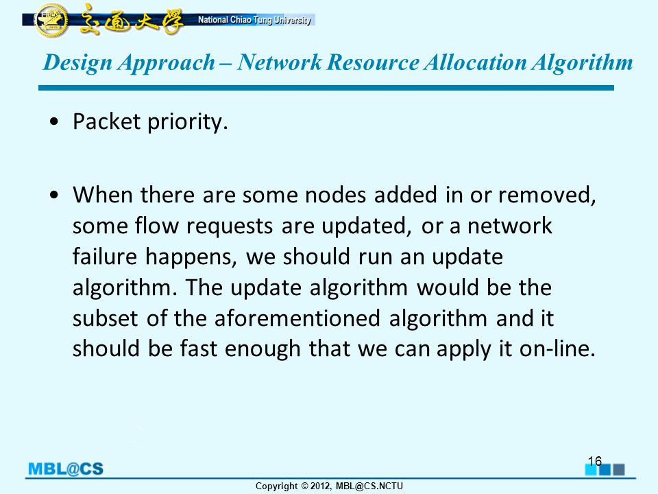 Copyright © 2012, MBL@CS.NCTU Design Approach – Network Resource Allocation Algorithm Packet priority.
