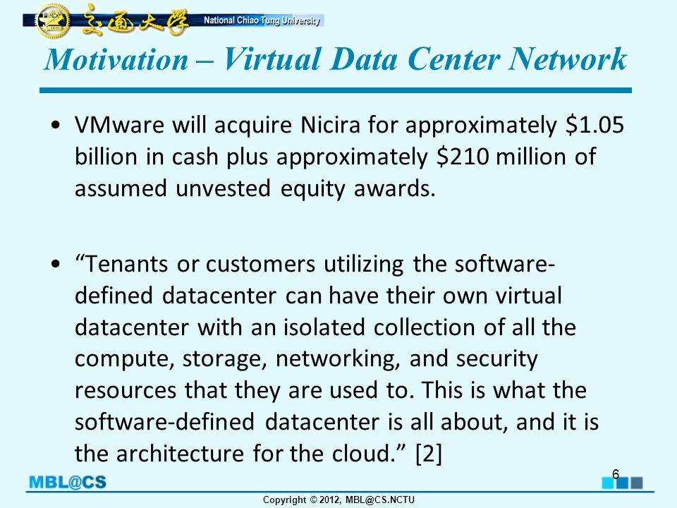 Copyright © 2012, MBL@CS.NCTU Motivation – Virtual Data Center Network Security and privacy between different applications.