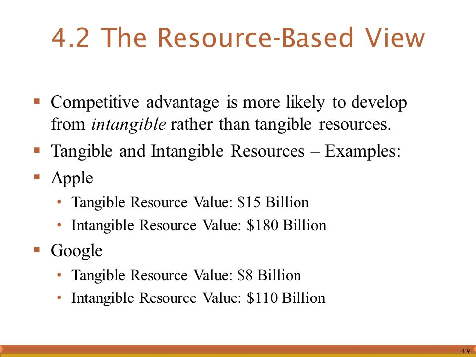 4-9  Competitive advantage is more likely to develop from intangible rather than tangible resources..