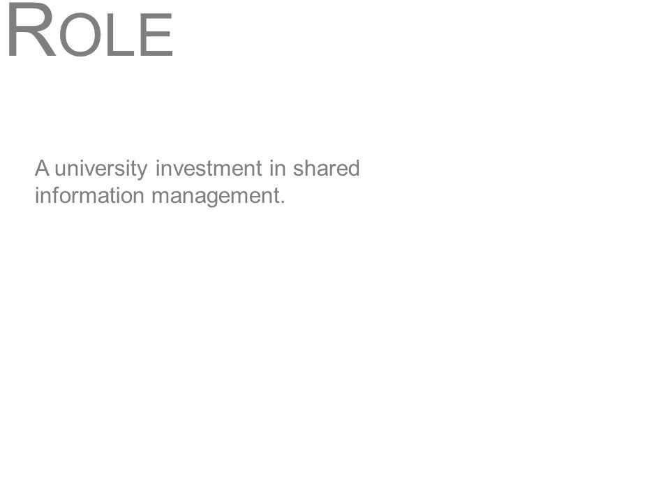 R OLE A university investment in shared information management.