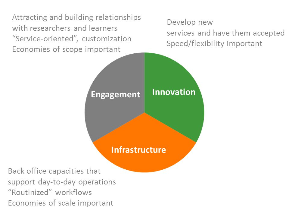 "Engagement Innovation Infrastructure Back office capacities that support day-to-day operations ""Routinized"" workflows Economies of scale important Dev"