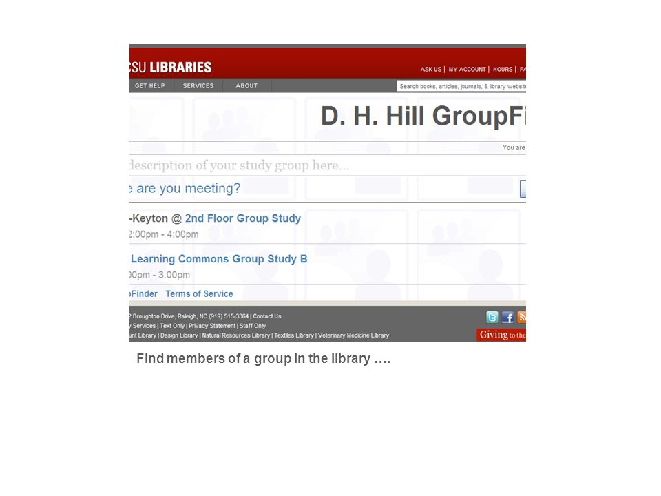 Find members of a group in the library ….