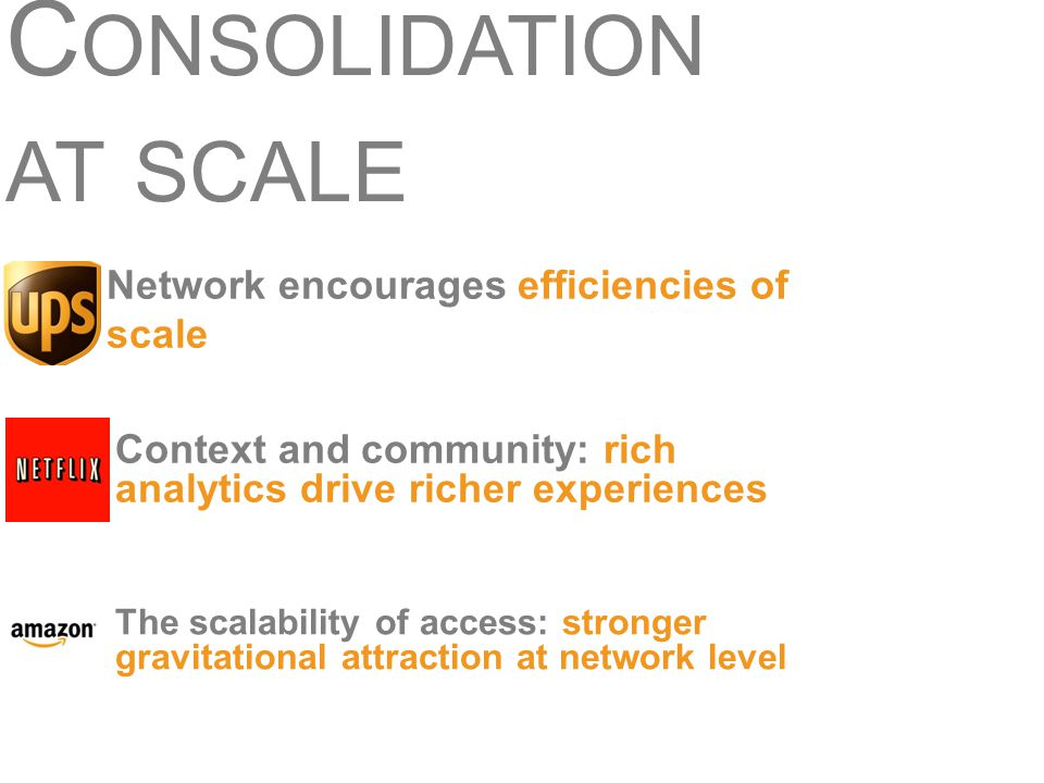 C ONSOLIDATION AT SCALE The scalability of access: stronger gravitational attraction at network level Context and community: rich analytics drive rich
