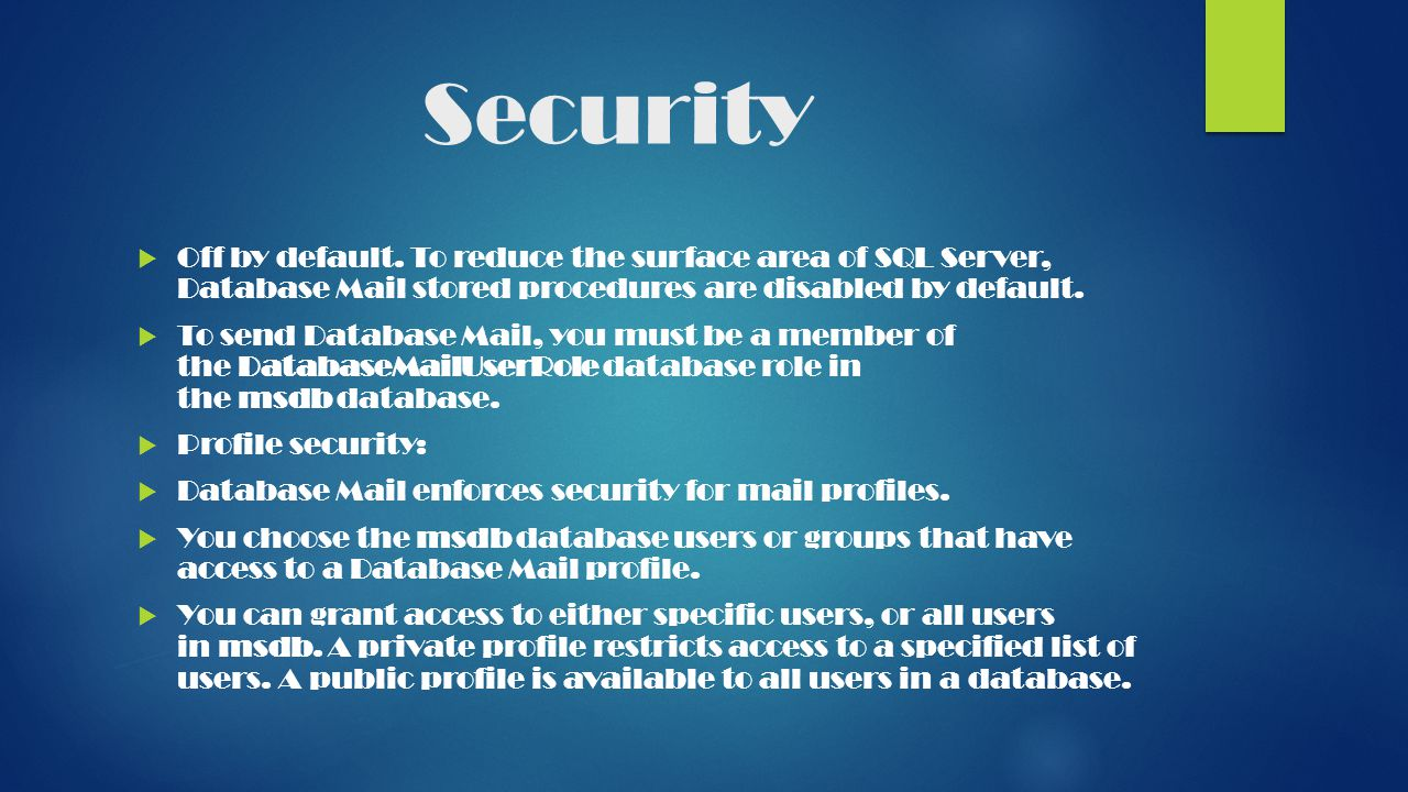 Security  Off by default.