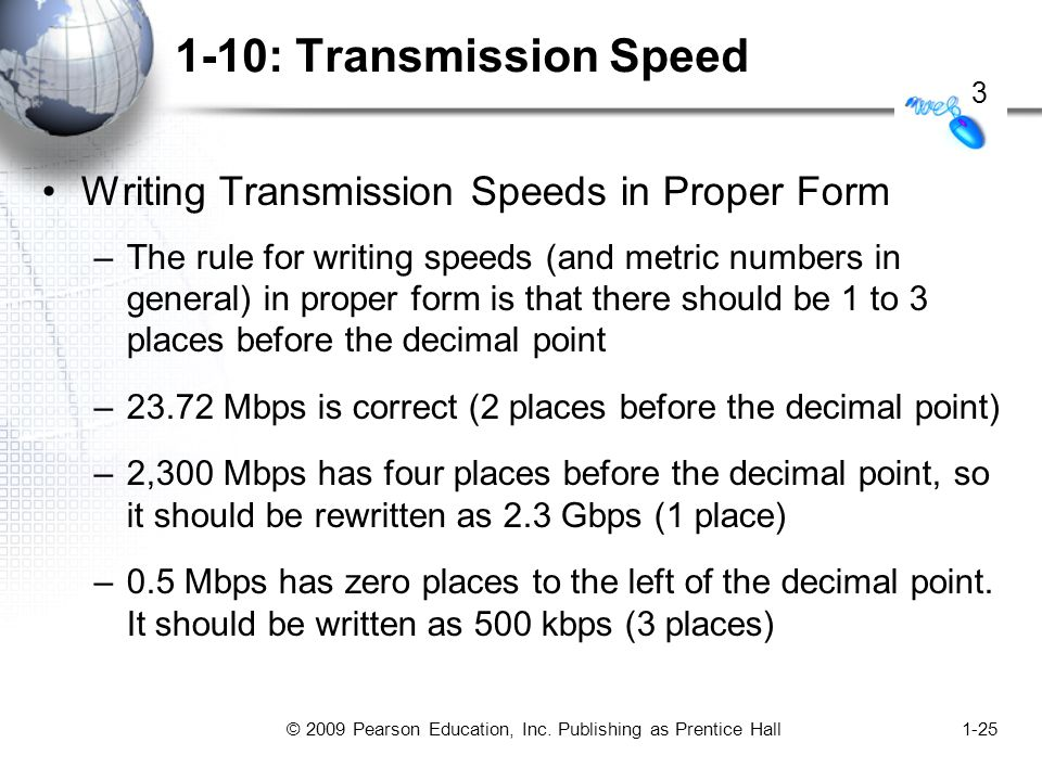 © 2009 Pearson Education, Inc. Publishing as Prentice Hall1-25 1-10: Transmission Speed Writing Transmission Speeds in Proper Form –The rule for writi