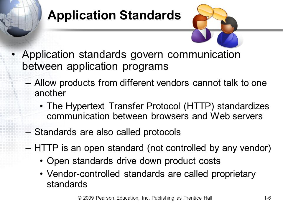 © 2009 Pearson Education, Inc. Publishing as Prentice Hall1-6 Application Standards Application standards govern communication between application pro