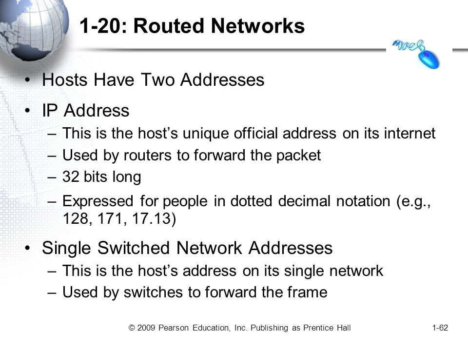 © 2009 Pearson Education, Inc. Publishing as Prentice Hall1-62 1-20: Routed Networks Hosts Have Two Addresses IP Address –This is the host's unique of