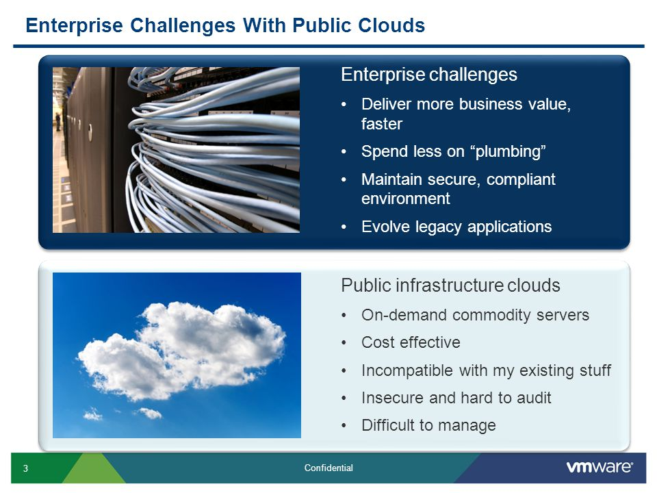 3 Confidential Enterprise Challenges With Public Clouds Public infrastructure clouds On-demand commodity servers Cost effective Incompatible with my existing stuff Insecure and hard to audit Difficult to manage Enterprise challenges Deliver more business value, faster Spend less on plumbing Maintain secure, compliant environment Evolve legacy applications