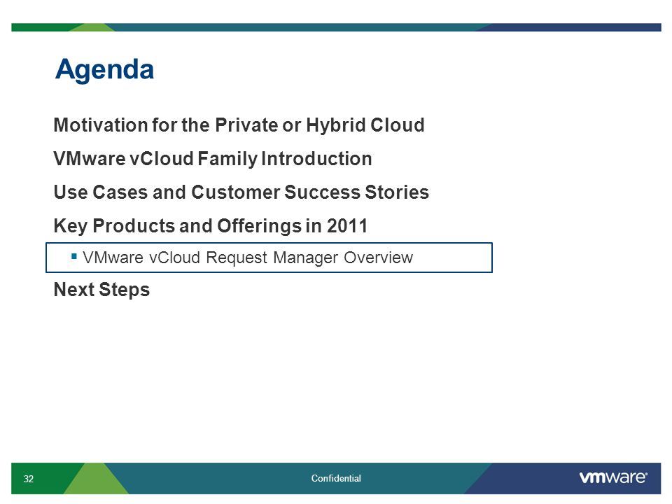 32 Confidential Agenda Motivation for the Private or Hybrid Cloud VMware vCloud Family Introduction Use Cases and Customer Success Stories Key Products and Offerings in 2011  VMware vCloud Request Manager Overview Next Steps