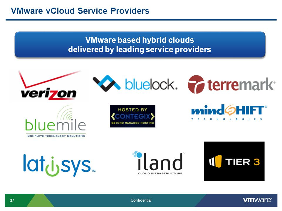 37 Confidential VMware vCloud Service Providers VMware based hybrid clouds delivered by leading service providers VMware based hybrid clouds delivered by leading service providers
